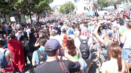 The crowd heading up the Hayes St. hill