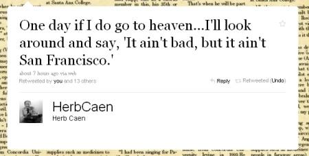 Herb Caen, San Francisco, Twitter